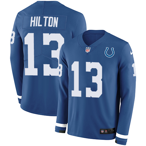 Nike Colts #13 T.Y. Hilton Royal Blue Team Color Men's Stitched NFL Limited Therma Long Sleeve Jersey