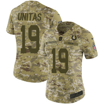 Nike Colts #19 Johnny Unitas Camo Women's Stitched NFL Limited 2018 Salute to Service Jersey