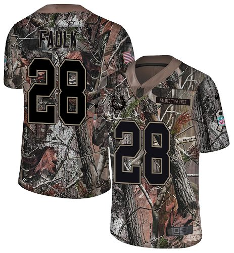 Nike Colts #28 Marshall Faulk Camo Men's Stitched NFL Limited Rush Realtree Jersey