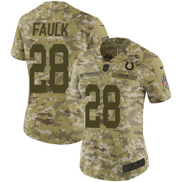 Nike Colts #28 Marshall Faulk Camo Women's Stitched NFL Limited 2018 Salute to Service Jersey