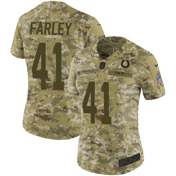 Nike Colts #41 Matthias Farley Camo Women's Stitched NFL Limited 2018 Salute to Service Jersey