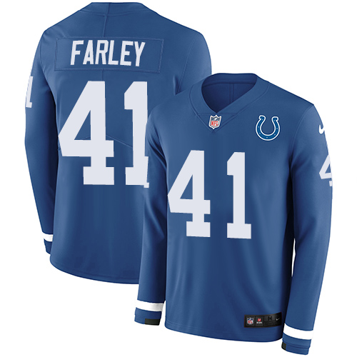 Nike Colts #41 Matthias Farley Royal Blue Team Color Men's Stitched NFL Limited Therma Long Sleeve Jersey