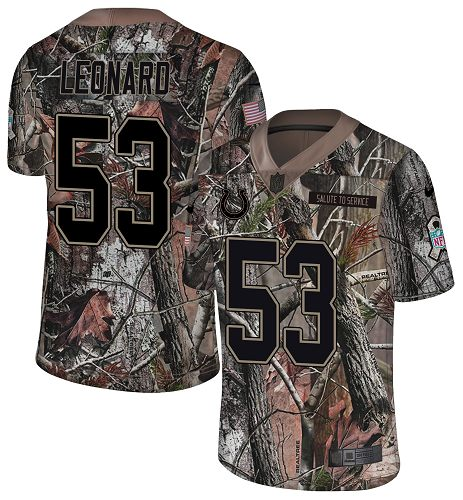 Nike Colts #53 Darius Leonard Camo Men's Stitched NFL Limited Rush Realtree Jersey