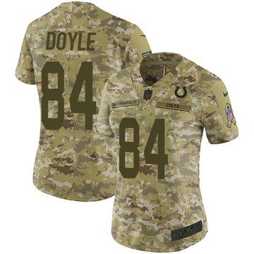 Nike Colts #84 Jack Doyle Camo Women's Stitched NFL Limited 2018 Salute to Service Jersey