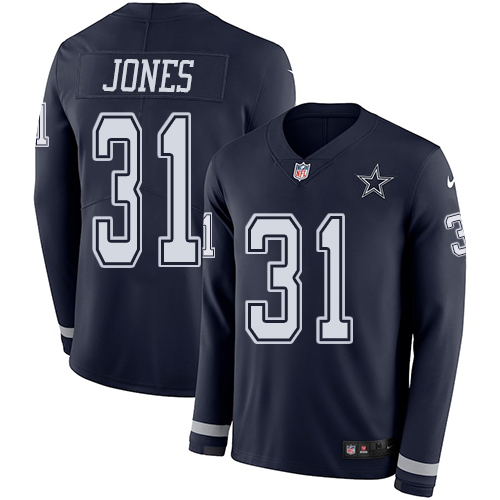 Nike Cowboys #31 Byron Jones Navy Blue Team Color Men's Stitched NFL Limited Therma Long Sleeve Jersey