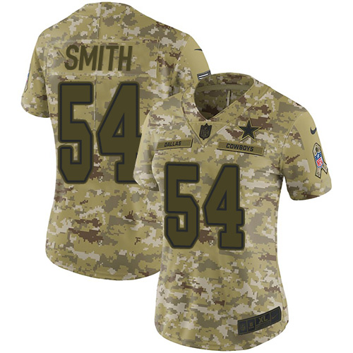 Nike Cowboys #54 Jaylon Smith Camo Women's Stitched NFL Limited 2018 Salute to Service Jersey
