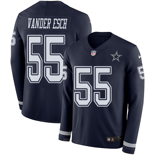 Nike Cowboys #55 Leighton Vander Esch Navy Blue Team Color Men's Stitched NFL Limited Therma Long Sleeve Jersey
