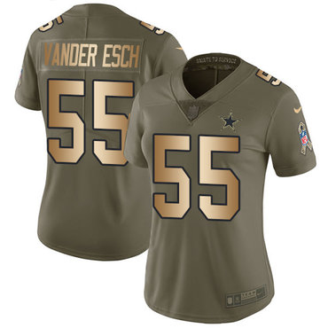 Nike Cowboys #55 Leighton Vander Esch Olive Gold Women's Stitched NFL Limited 2017 Salute to Service Jersey