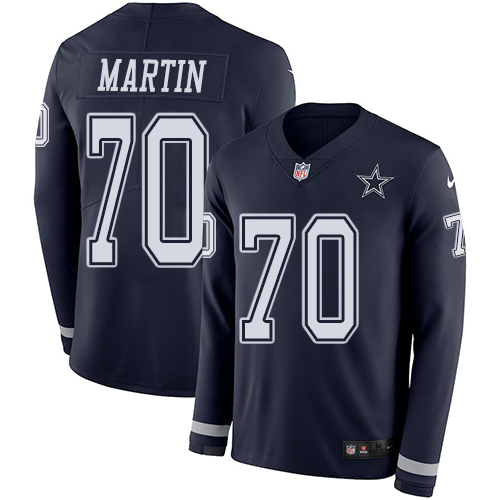 Nike Cowboys #70 Zack Martin Navy Blue Team Color Men's Stitched NFL Limited Therma Long Sleeve Jersey