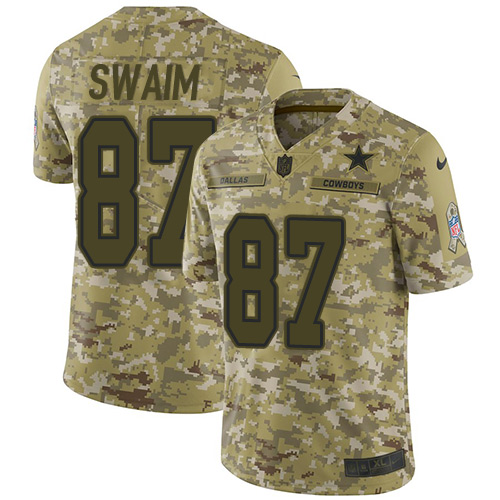 Nike Cowboys #87 Geoff Swaim Camo Men's Stitched NFL Limited 2018 Salute To Service Jersey