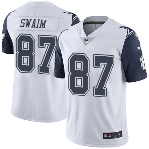 Nike Cowboys #87 Geoff Swaim White Men's Stitched NFL Limited Rush Jersey