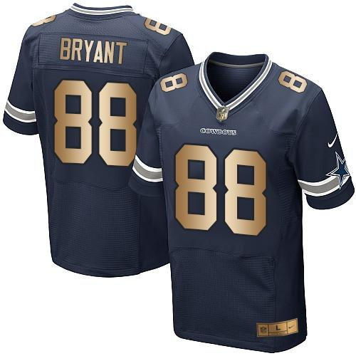 Nike Cowboys #88 Dez Bryant Navy Blue Team Color Men's Stitched NFL Elite Gold Jersey