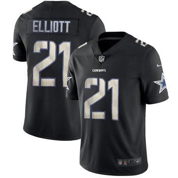 Nike Cowboys 21 Ezekiel Elliott Black Vapor Impact Limited Jersey
