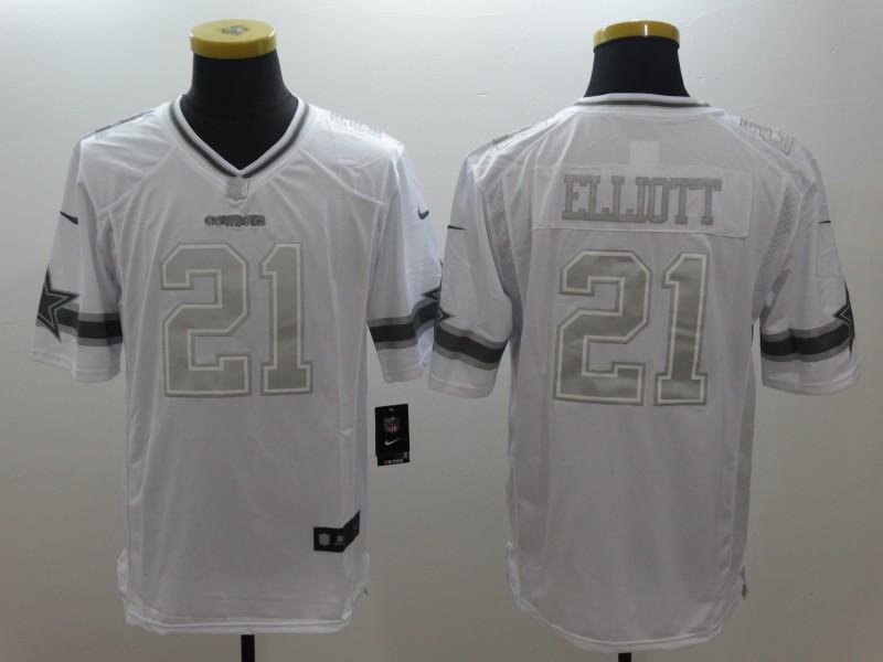 Nike Cowboys 21 Ezekiel Elliott White Platinum Limited Jersey