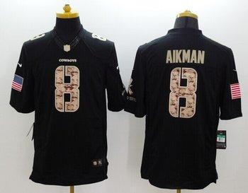 Nike Dallas Cowboys #8 Aikman Black Salute TO Service Jersey