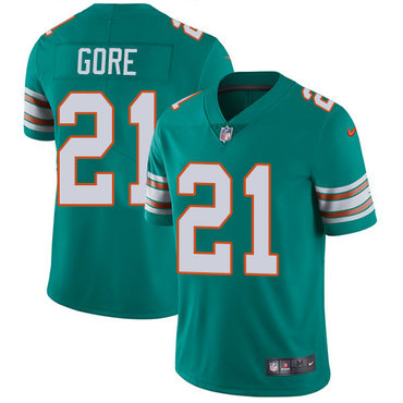Nike Dolphins #21 Frank Gore Aqua Green Alternate Youth Stitched NFL Vapor Untouchable Limited Jersey