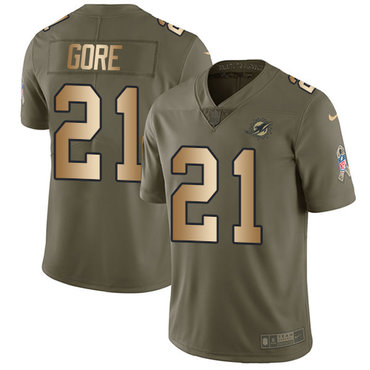 Nike Dolphins #21 Frank Gore Olive Gold Youth Stitched NFL Limited 2017 Salute to Service Jersey