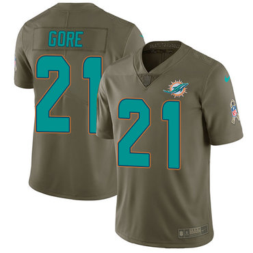 Nike Dolphins #21 Frank Gore Olive Youth Stitched NFL Limited 2017 Salute to Service Jersey