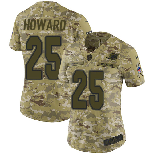 Nike Dolphins #25 Xavien Howard Camo Women's Stitched NFL Limited 2018 Salute to Service Jersey