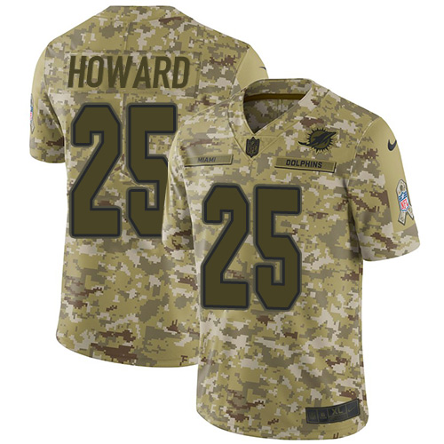 Nike Dolphins #25 Xavien Howard Camo Youth Stitched NFL Limited 2018 Salute to Service Jersey