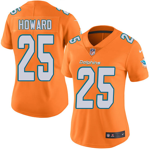 Nike Dolphins #25 Xavien Howard Orange Women's Stitched NFL Limited Rush Jersey