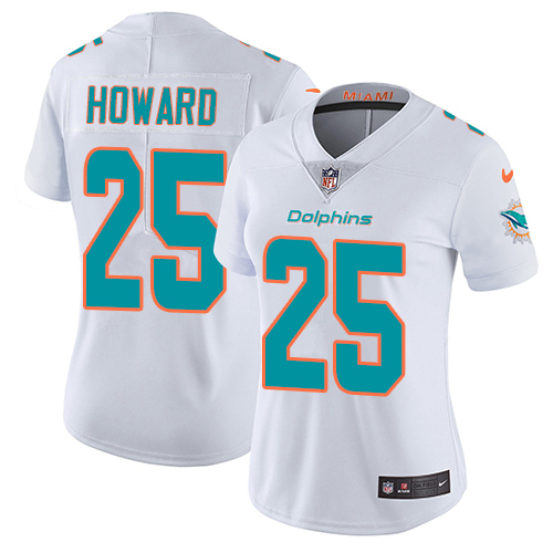 Nike Dolphins #25 Xavien Howard White Women's Stitched NFL Vapor Untouchable Limited Jersey