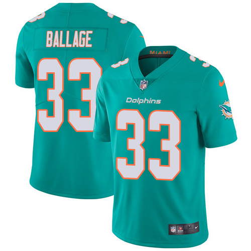 Nike Dolphins #33 Kalen Ballage Aqua Green Team Color Men's Stitched NFL Vapor Untouchable Limited Jersey