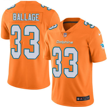 Nike Dolphins #33 Kalen Ballage Orange Men's Stitched NFL Limited Rush Jersey