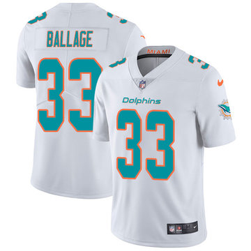 Nike Dolphins #33 Kalen Ballage White Men's Stitched NFL Vapor Untouchable Limited Jersey