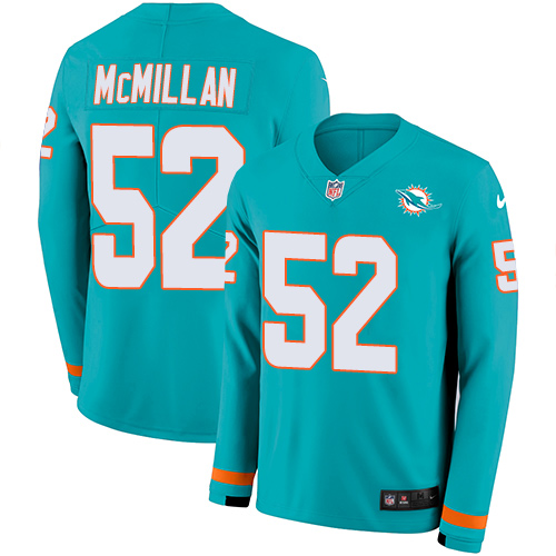 Nike Dolphins #52 Raekwon McMillan Aqua Green Team Color Men's Stitched NFL Limited Therma Long Sleeve Jersey