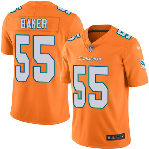 Nike Dolphins #55 Jerome Baker Orange Men's Stitched NFL Limited Rush Jersey