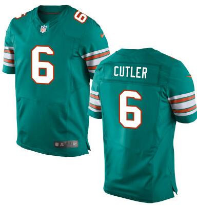 Nike Dolphins #6 Cutler Aqua Green Alternate Men's NFL Throwback Elite Jersey