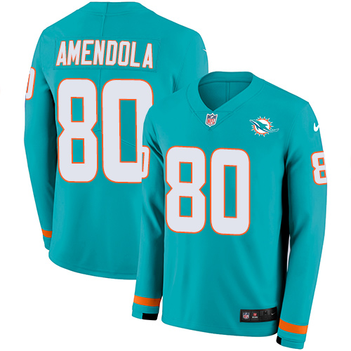Nike Dolphins #80 Danny Amendola Aqua Green Team Color Men's Stitched NFL Limited Therma Long Sleeve Jersey