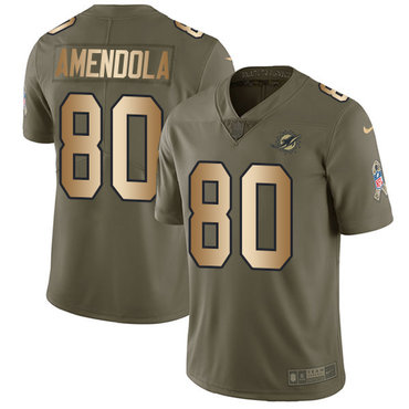 Nike Dolphins #80 Danny Amendola Olive Gold Youth Stitched NFL Limited 2017 Salute to Service Jersey