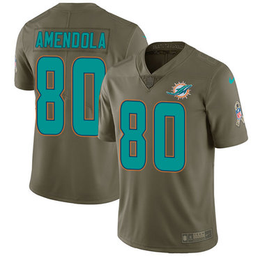 Nike Dolphins #80 Danny Amendola Olive Youth Stitched NFL Limited 2017 Salute to Service Jersey