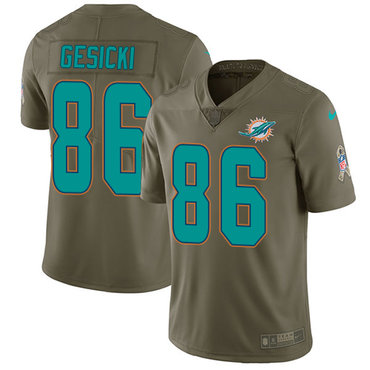 Nike Dolphins #86 Mike Gesicki Olive Youth Stitched NFL Limited 2017 Salute to Service Jersey