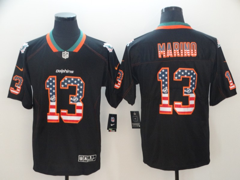 Nike Dolphins 13 Dan Marino Black USA Flag Fashion Limited Jersey
