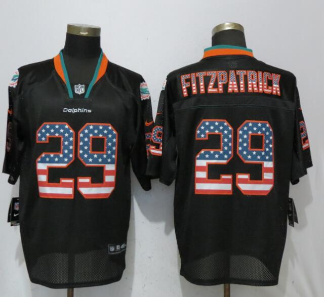Nike Dolphins 29 Minkah Fitzpatrick Black USA Flag Fashion Elite Jersey