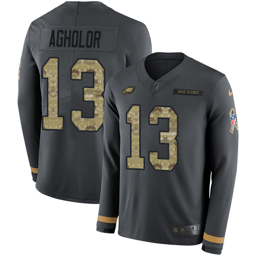 Nike Eagles #13 Nelson Agholor Anthracite Salute to Service Men's Stitched NFL Limited Therma Long Sleeve Jersey