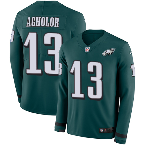 Nike Eagles #13 Nelson Agholor Midnight Green Team Color Men's Stitched NFL Limited Therma Long Sleeve Jersey