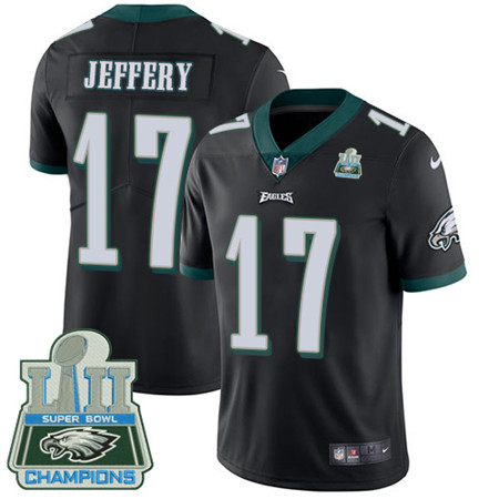 Nike Eagles #17 Alshon Jeffery Black Alternate Super Bowl LII Champions Youth Stitched NFL Vapor Untouchable Limited Jersey