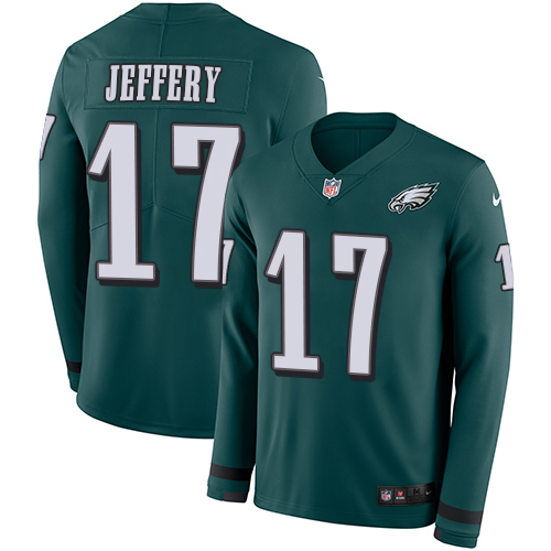 Nike Eagles #17 Alshon Jeffery Midnight Green Team Color Men's Stitched NFL Limited Therma Long Sleeve Jersey