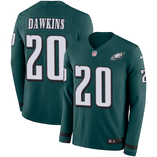 Nike Eagles #20 Brian Dawkins Midnight Green Team Color Men's Stitched NFL Limited Therma Long Sleeve Jersey