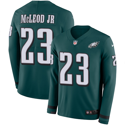 Nike Eagles #23 Rodney McLeod Jr Midnight Green Team Color Men's Stitched NFL Limited Therma Long Sleeve Jersey