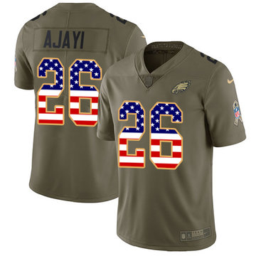 Nike Eagles #26 Jay Ajayi Olive USA Flag Men's Stitched NFL Limited 2017 Salute To Service Jersey