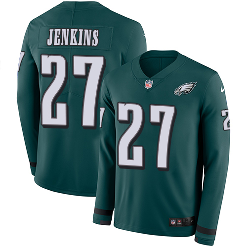 Nike Eagles #27 Malcolm Jenkins Midnight Green Team Color Men's Stitched NFL Limited Therma Long Sleeve Jersey