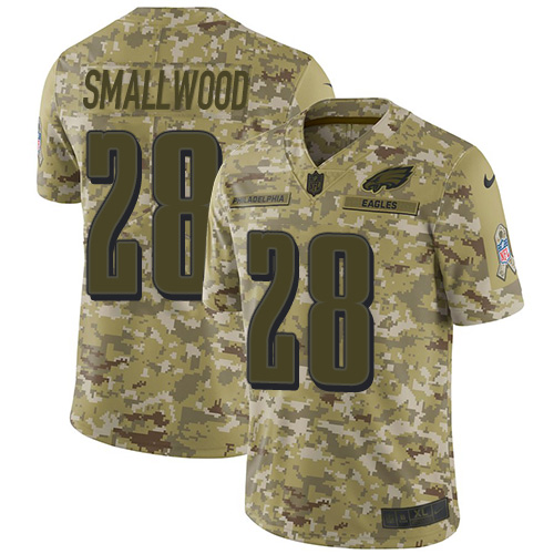 Nike Eagles #28 Wendell Smallwood Camo Men's Stitched NFL Limited 2018 Salute To Service Jersey