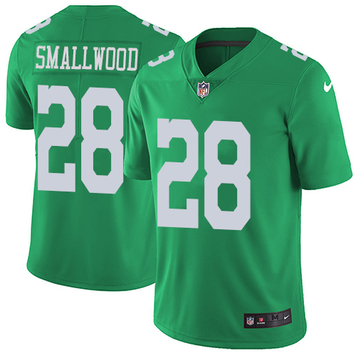 Nike Eagles #28 Wendell Smallwood Green Men's Stitched NFL Limited Rush Jersey