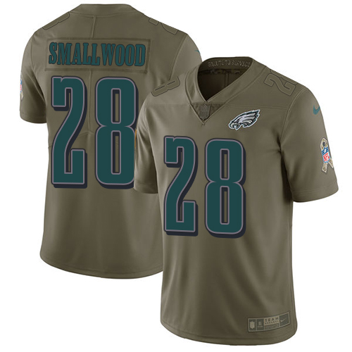 Nike Eagles #28 Wendell Smallwood Olive Men's Stitched NFL Limited 2017 Salute To Service Jersey