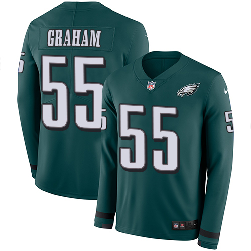 Nike Eagles #55 Brandon Graham Midnight Green Team Color Men's Stitched NFL Limited Therma Long Sleeve Jersey